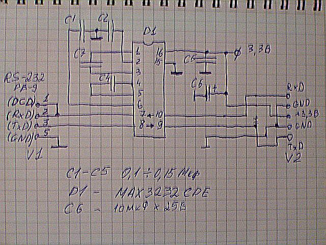 его схема на MAX3232CPE.